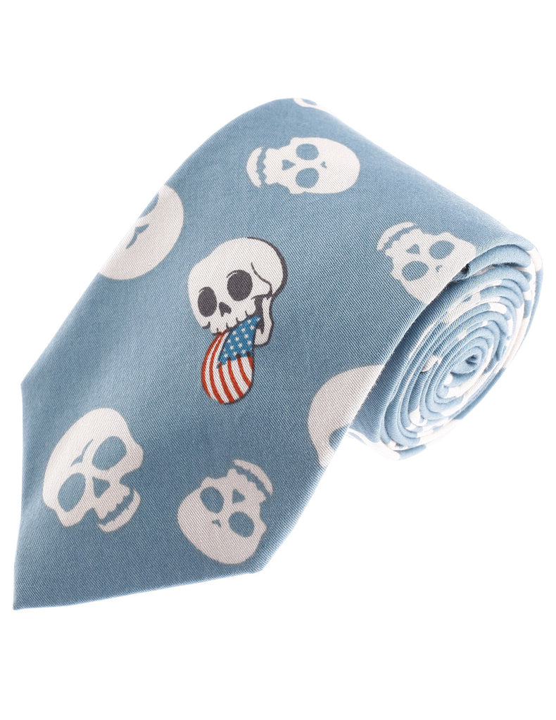 Mens Designer Cotton Skull Flag Pattern Neck Tie (YA010)