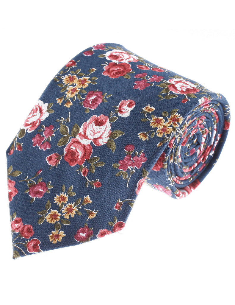 Mens Flower Printed Rose Floral Pattern Cotton Neck Tie (YA013)