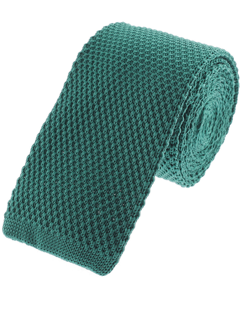 Mens Basic Solid Square End Knit Tie Necktie (YA503)