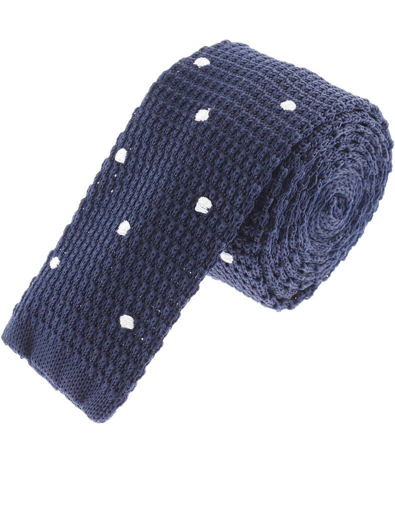 Mens White Dot Square End Knit Tie Necktie (YA504)