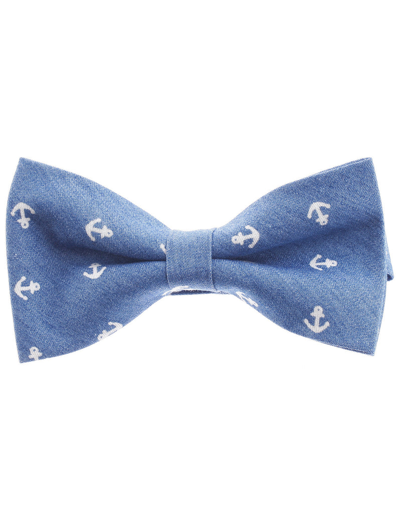 Mens Pre-Tied Anchor Design Casual Denim Bow Tie (YB002)