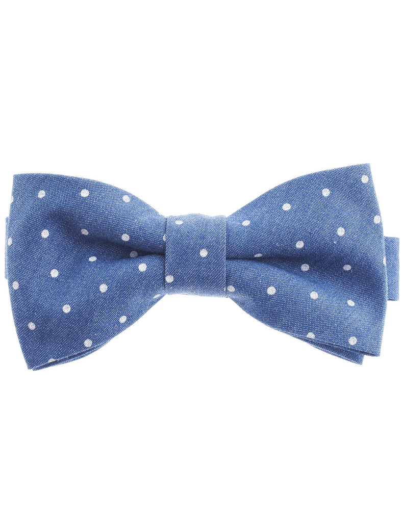 Mens White Polka Dot Pattern Pre-Tied Denim Bow Tie Cotton (YB008)