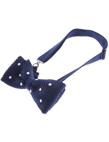 Mens White Dot Point Knit Bow Tie Bowtie Pre-Tied (YB504)