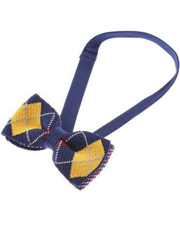 Mens Argyle Pattern Bowtie Plaid Check Knit Bow Tie (YB505)