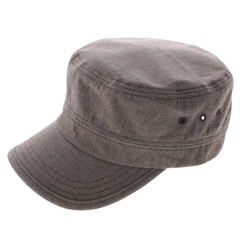 Mens Womens Checker Fabric Military Cap (Z104)