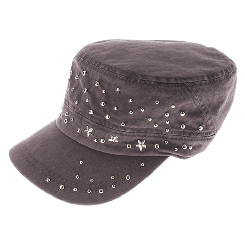 Womens Designer Studed Military Cap (Z121)