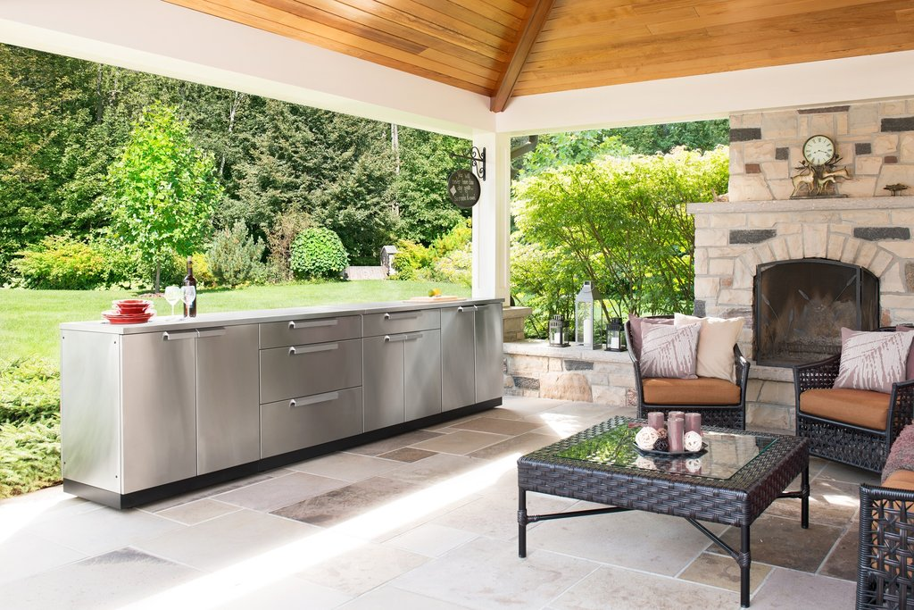 NewAge Outdoor Kitchen 2 PC Cabinet Set with 2-Door Cabinet and Bar  Cabinet, Stainless Steel 65106
