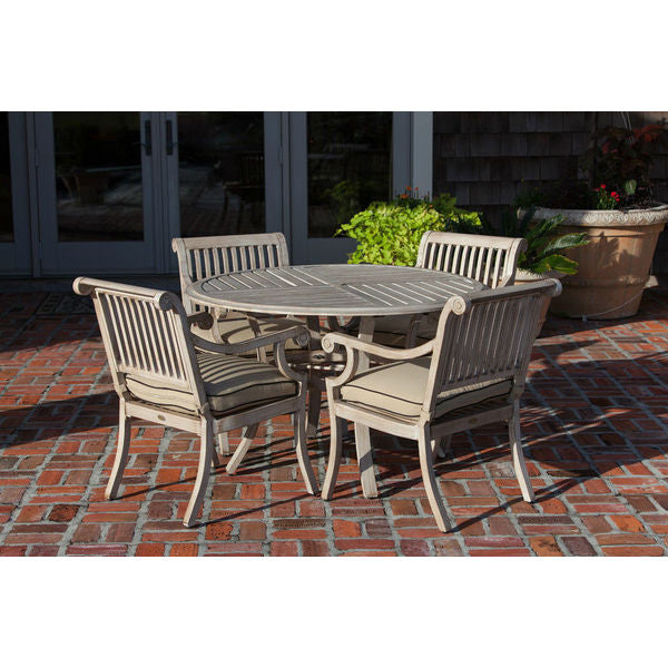 Patio Sense Aged Teak Wood Finish Aluminum Patio Dining Set 61608