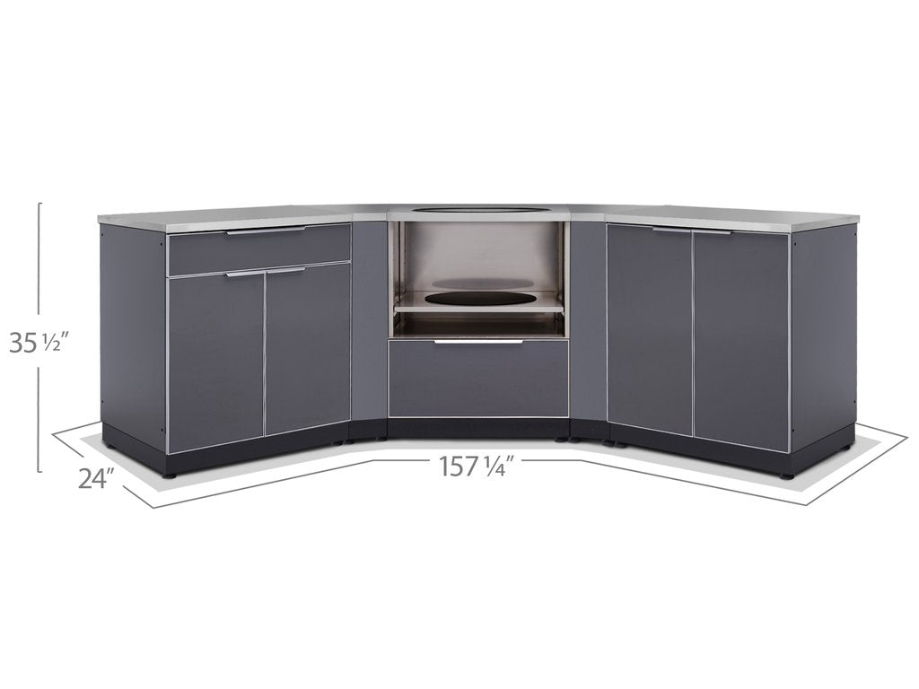 Newage Outdoor Kitchen 4 Pc Cabinet Set In Slate Gray 65378 Betterpatio Com