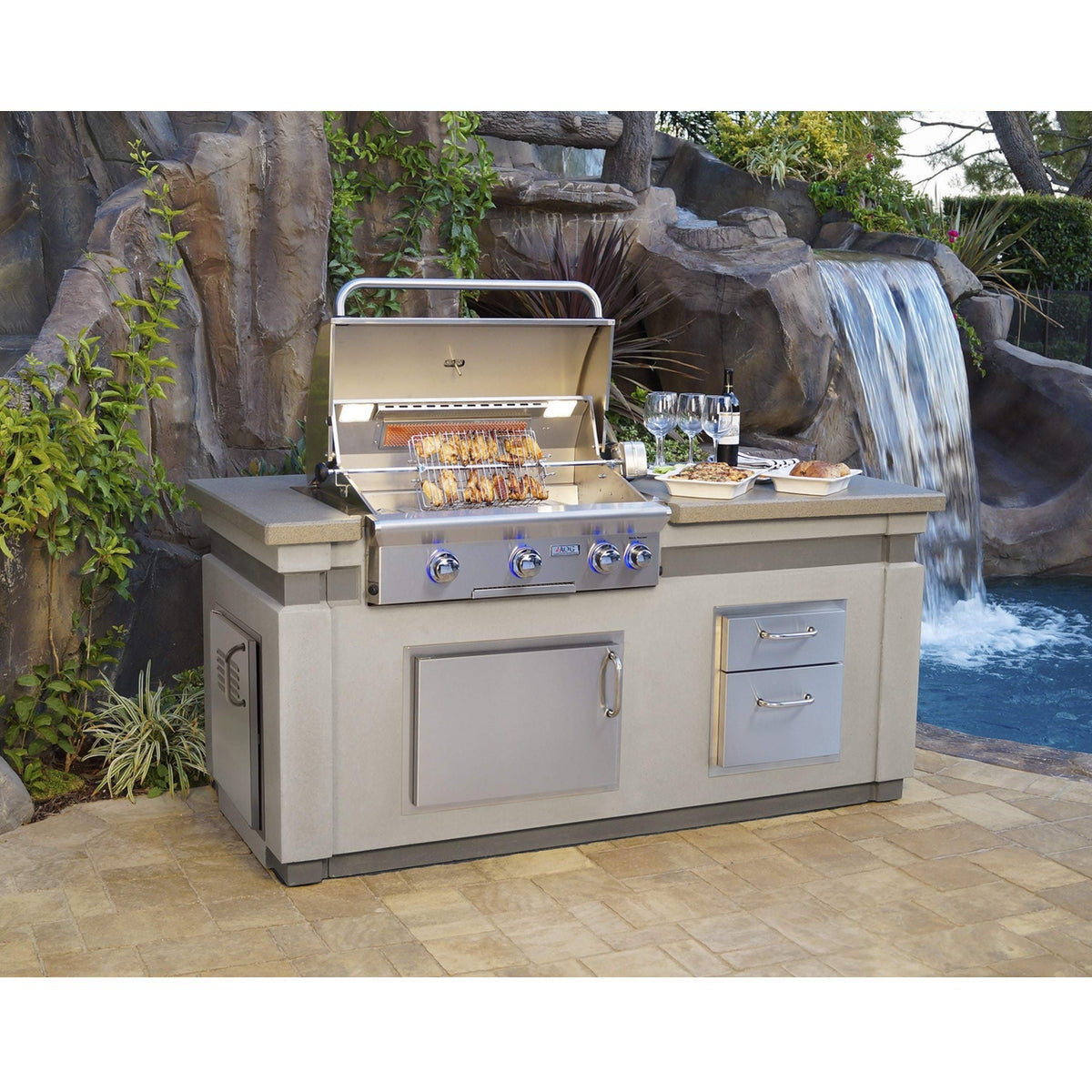 American Outdoor Grill (AOG) BBQ Island L-Series Bundle ...