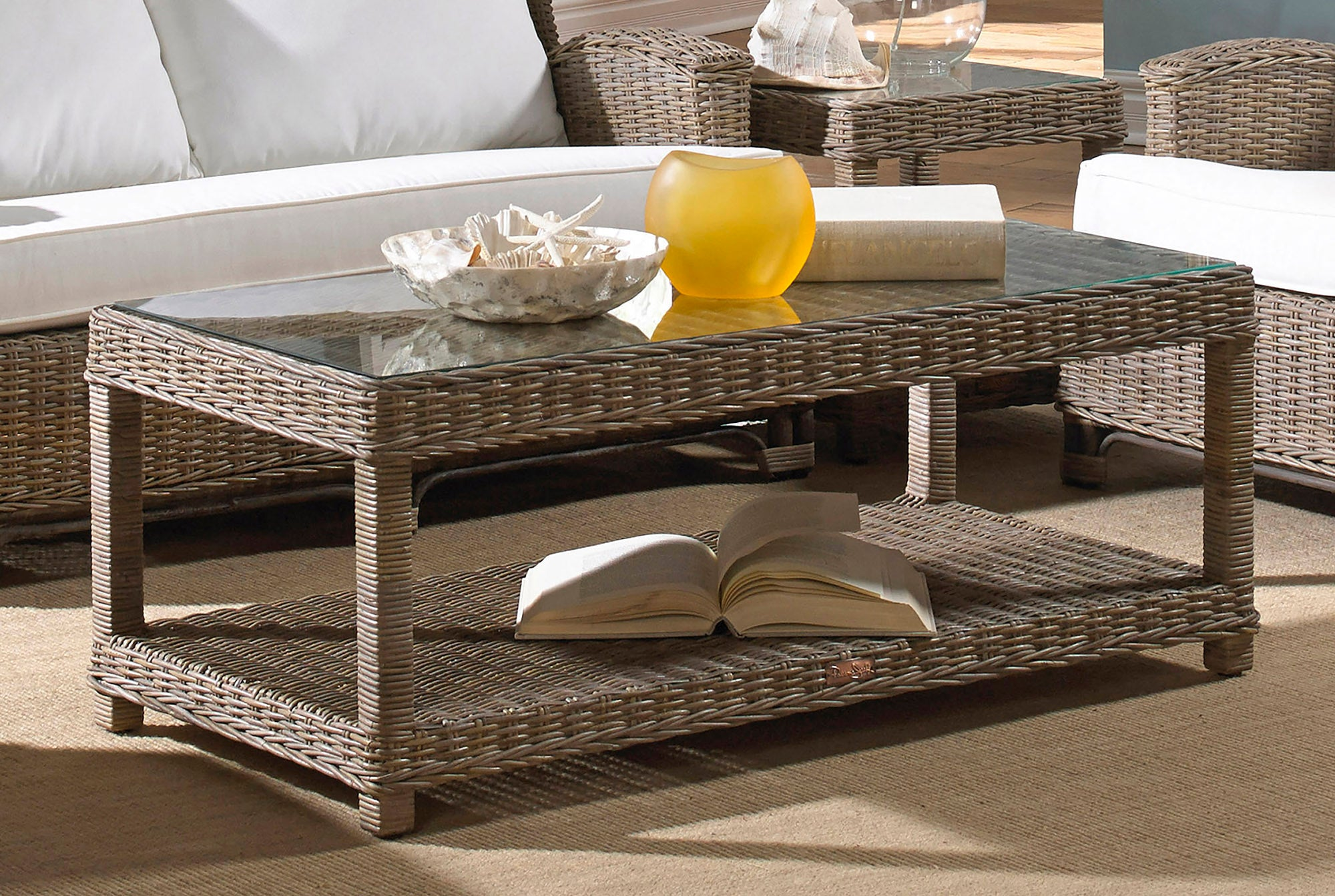Panama Jack Sunroom Exuma Coffee Table With Glass Pjs 3001 Kbu Ct