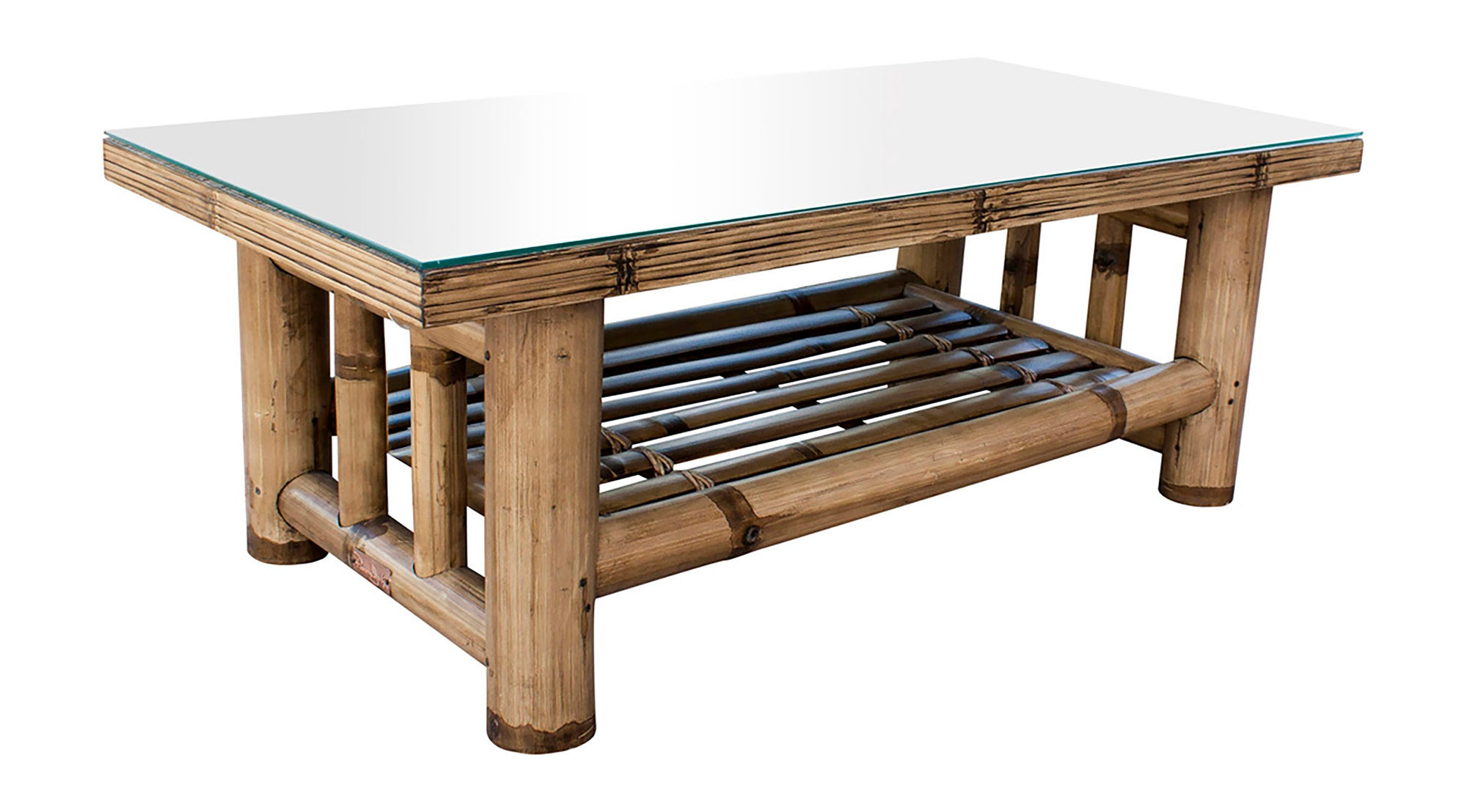 Panama Jack Sunroom Kauai Bamboo Coffee Table With Glass Pjs 4001