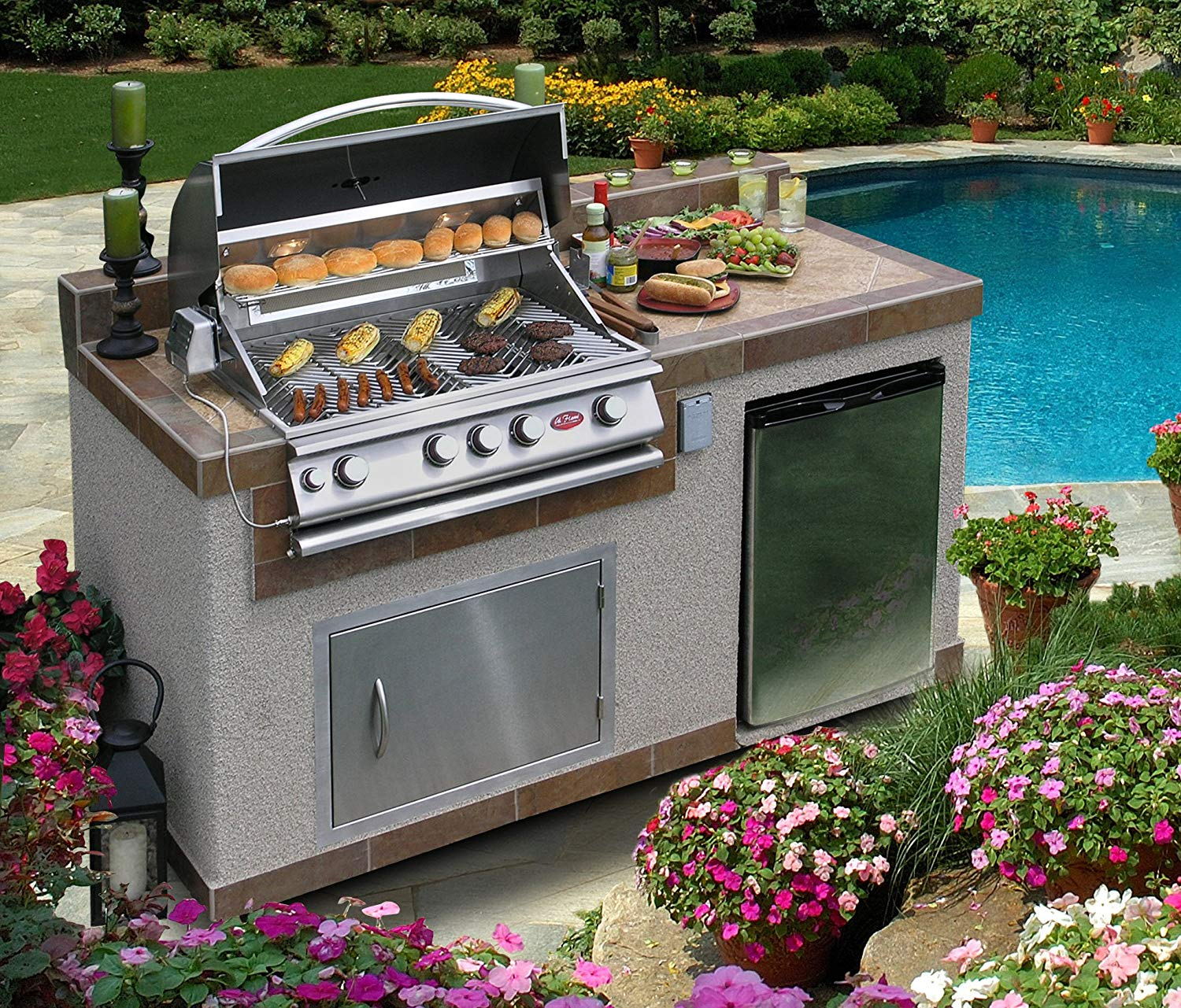 Cal Flame 6 Foot Bbq Island With 4 Burner Built In Grill 27