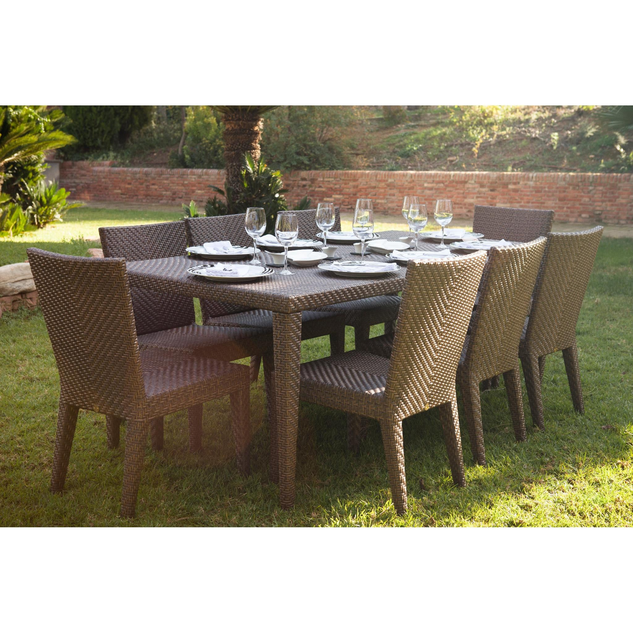 Beau Hospitality Rattan Soho 9 Piece Dining Set With 2 Arm Chairs 9 PC SET 903