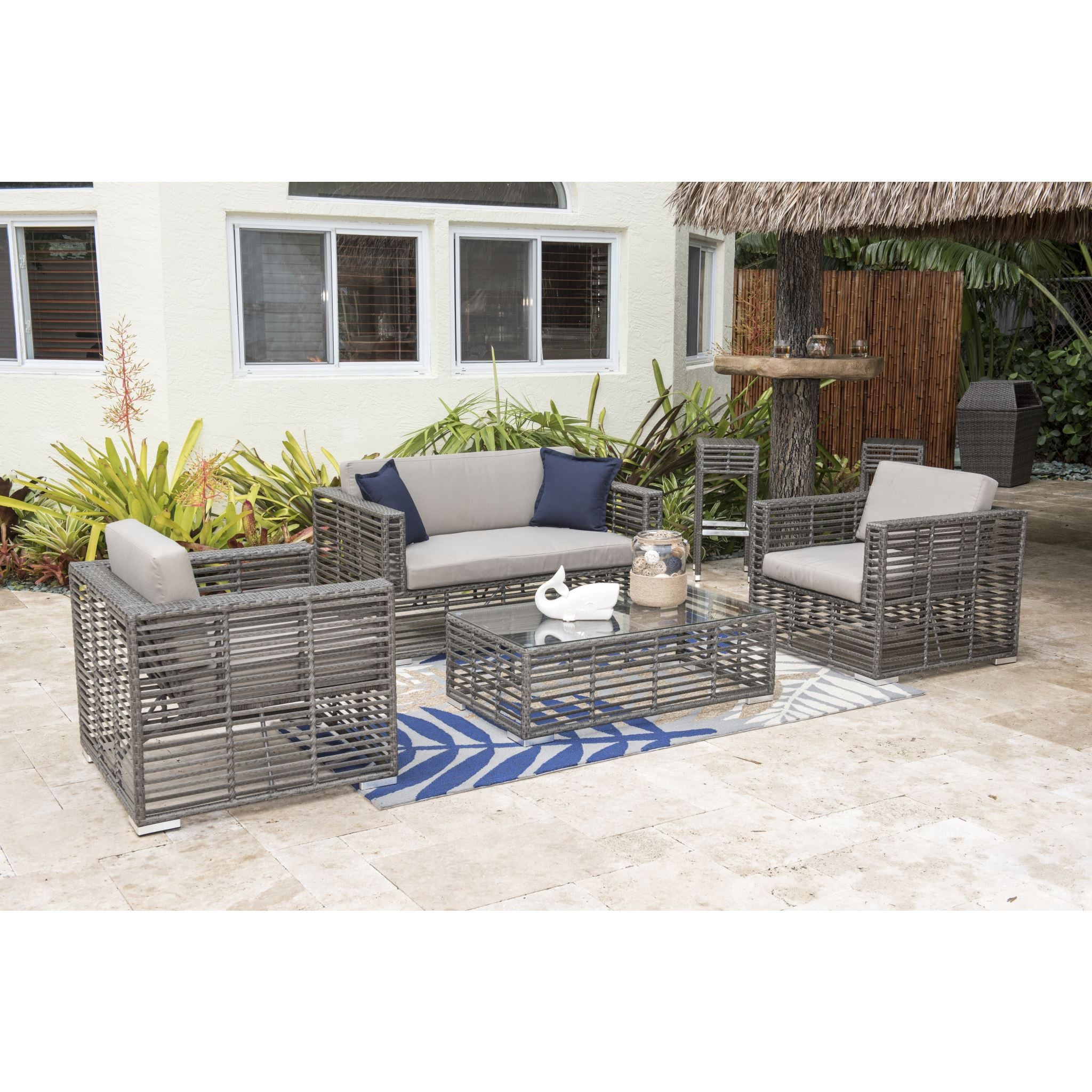 Hospitality Rattan 4 Pc Wicker Conversation   Living Set 1461 GRY 4PC  SET. Hospitality Rattan   BetterPatio com