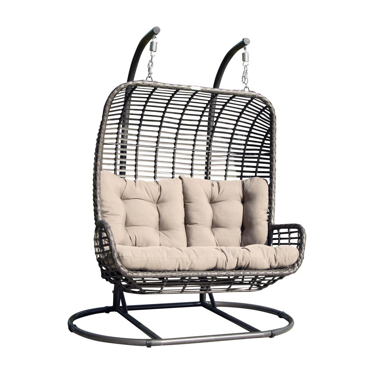 Hospitality Rattan Double Hanging Chair With Stand U0026 Cushion 2320 GRY ...