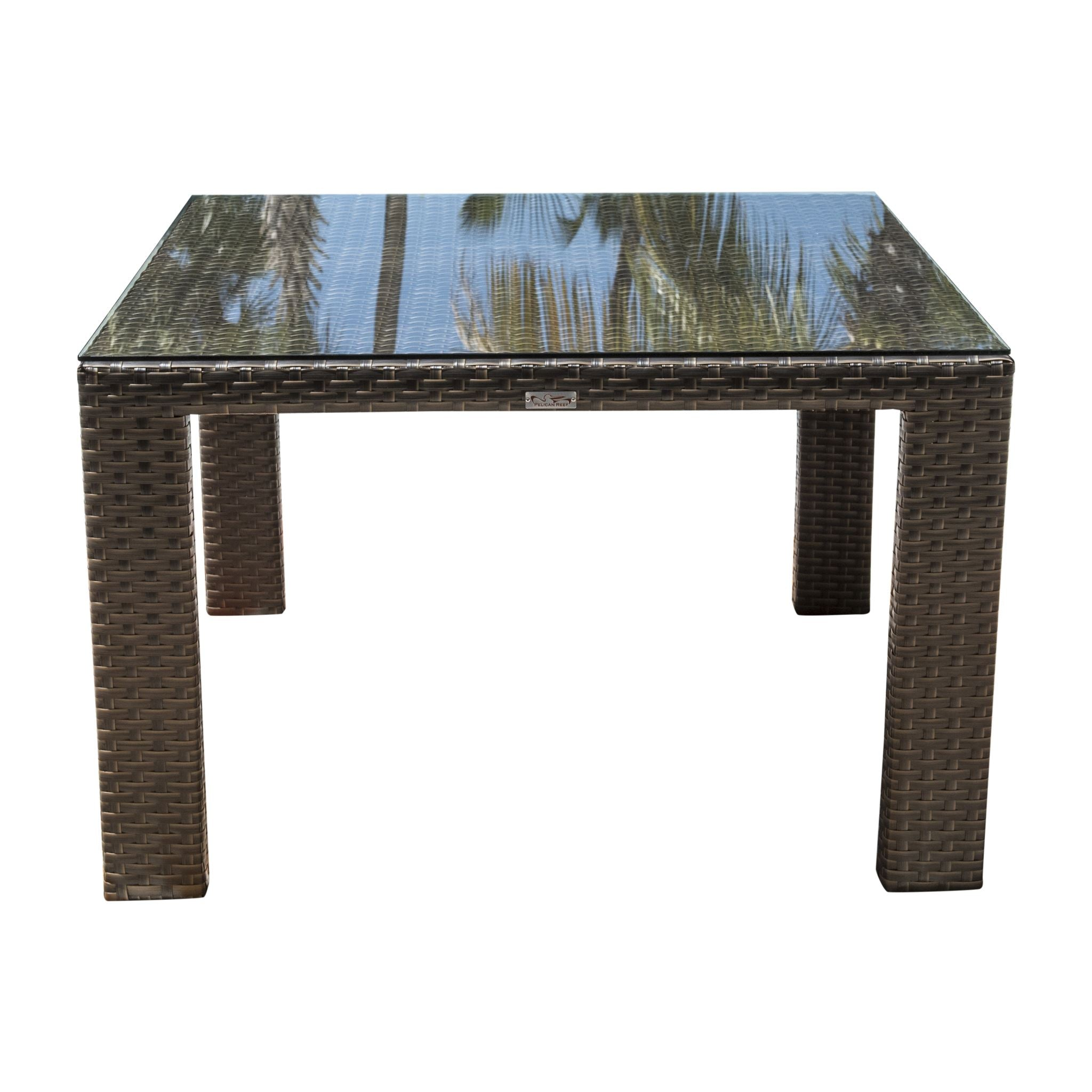 Hospitality Rattan Fiji Dining Table w/glass Square Woven Square  901-3347-ATQ-ST-GLASS