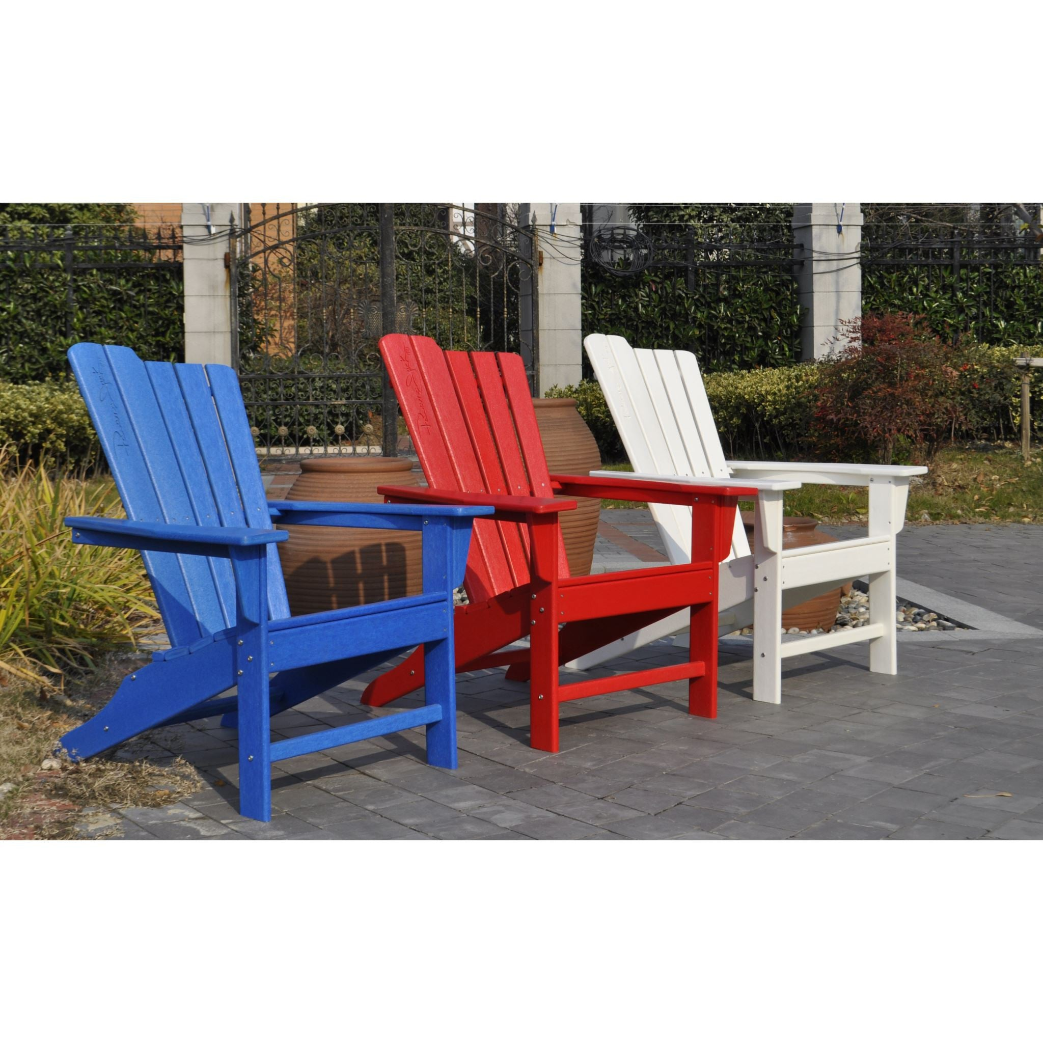 Panama Jack Blue Outdoor Adirondack Chair and Ottoman Set PJO 4001