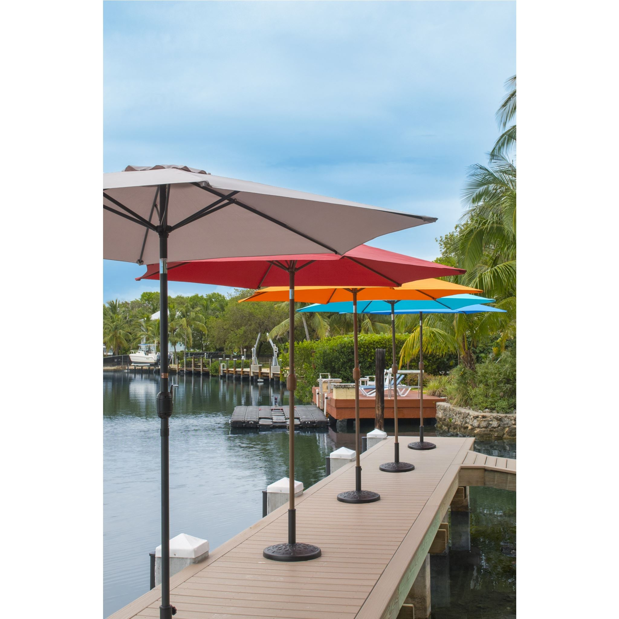 Panama Jack Orange 9 Ft Aluminum Patio Umbrella W Crank
