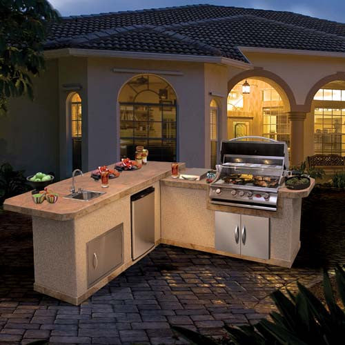 Cal Flame BBQ Island 7 Ft. X 6 Ft. 2-piece L-shaped LBK870