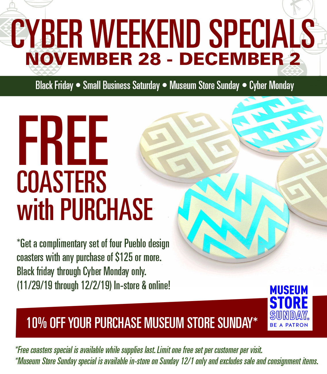 Cyber weekend holiday specials at the Indian Pueblo Cultural Center Gift Shop Shumakolowa Native aRts