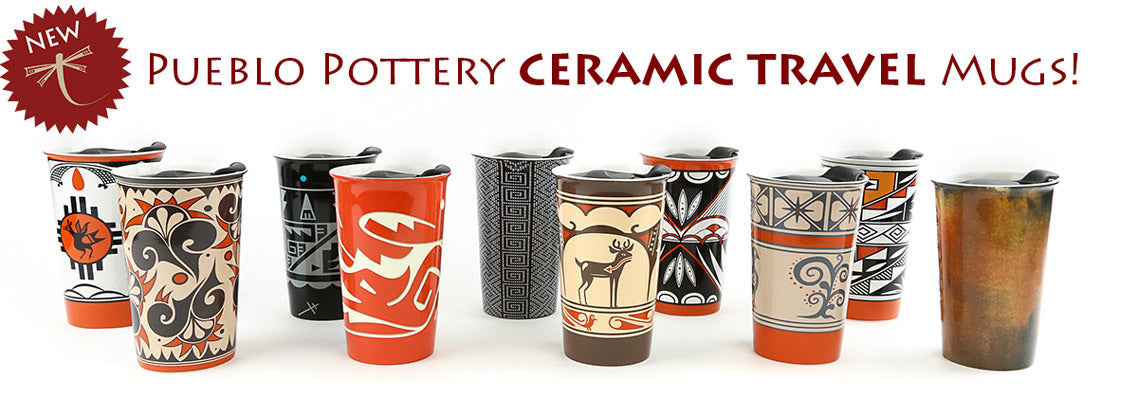 Ceramic Travel Mugs with original Pueblo Pottery Designs