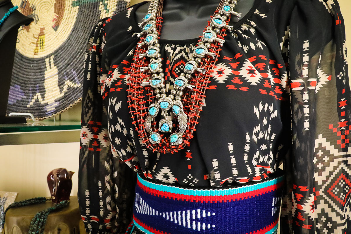 Native American Jewelry Wardrobe style with Squash Blossom Necklace