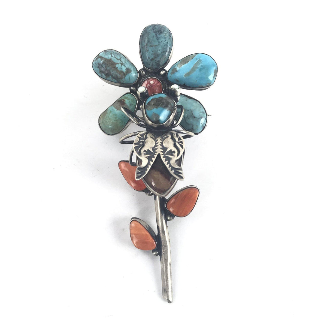 Herbert Ration Turquoise Multi-Gemstone Flower and Bee Pin/Pendant-Indian Pueblo Store