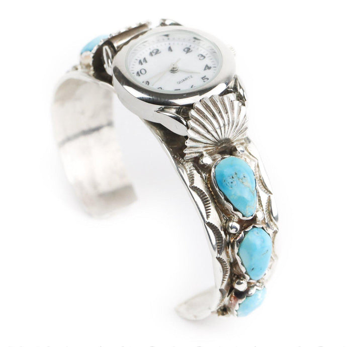 Sterling Silver Turquoise Cuff Watch - Shumakolowa Native Arts