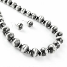 Load image into Gallery viewer, Virginia Tso Graduated Sterling Silver Bead Necklace and Earring Set - Shumakolowa Native Arts