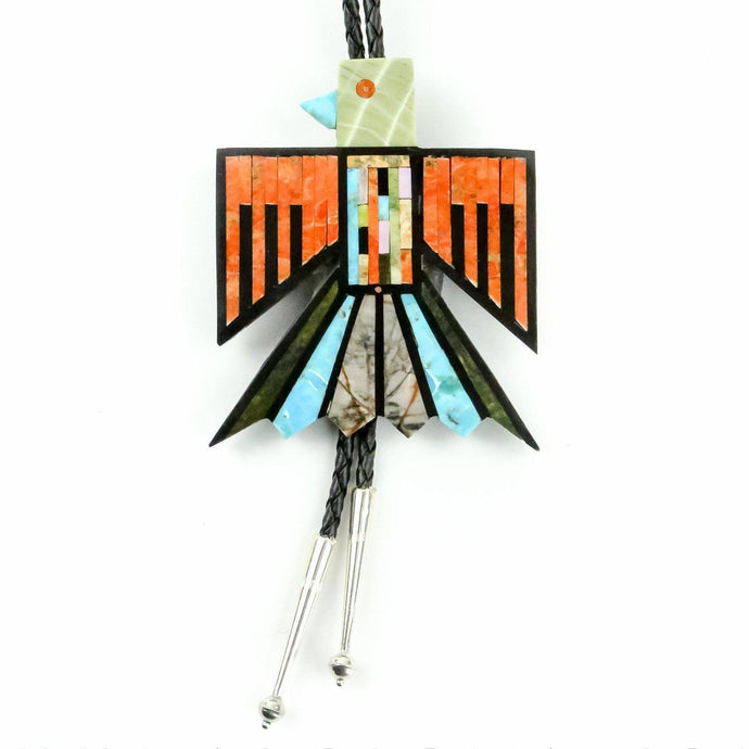 Mary and Gerard Calabaza Thunderbird Multi-Gemstone Inlay Bolo tie - Shumakolowa Native Arts