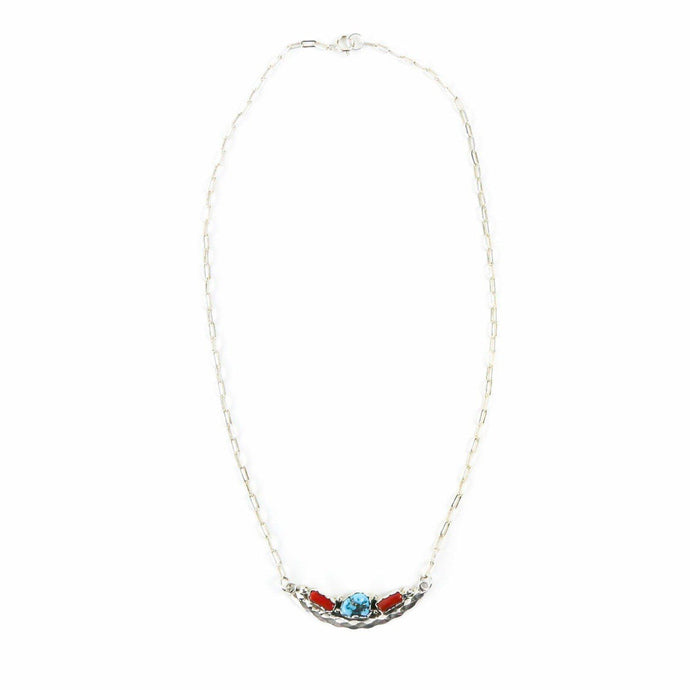 Julia and Hubert Etsitty Turquoise and Coral Three Stone Pendant Necklace - Shumakolowa Native Arts