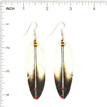 Load image into Gallery viewer, Dominic Arquero Natural Eagle Feather Rawhide Earrings - Shumakolowa Native Arts