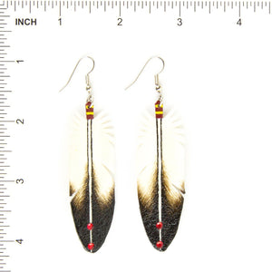 Dominic Arquero Natural Eagle Feather Rawhide Earrings - Shumakolowa Native Arts