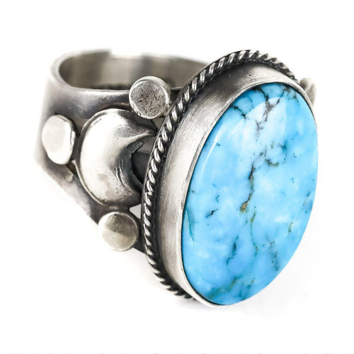 Sterling Silver Kingman Turquoise Ring - Shumakolowa Native Arts
