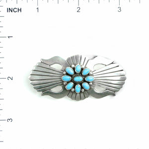 Sterling Silver & Kingman Turquoise Cluster Pin by Lee Charley - Shumakolowa Native Arts