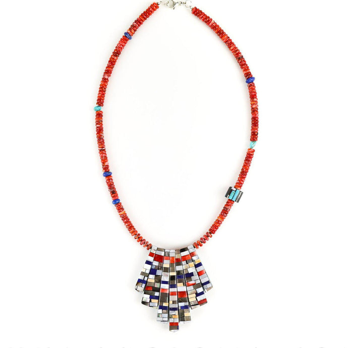 Frank and Charlene Reano Reversible Mosaic Inlay Pendant Necklace - Shumakolowa Native Arts