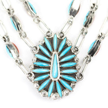 Load image into Gallery viewer, Smoky Genaclee Turquoise and Coral Needlepoint Necklace Set - Shumakolowa Native Arts