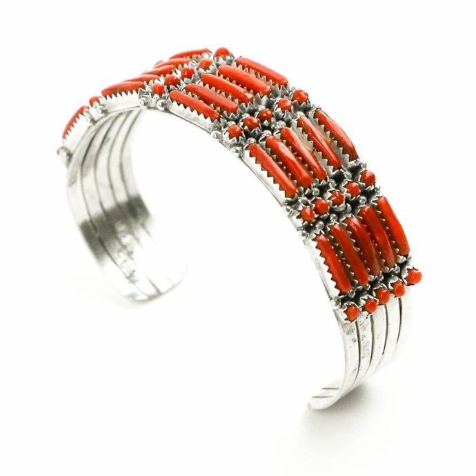 Coral Zuni Petit Point Bracelet - Shumakolowa Native Arts