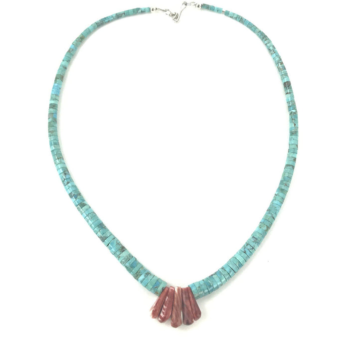 Lupe Lovato Santo Domingo Turquoise and Red Spiny Oyster Shell Heishi Corn Necklace-Indian Pueblo Store