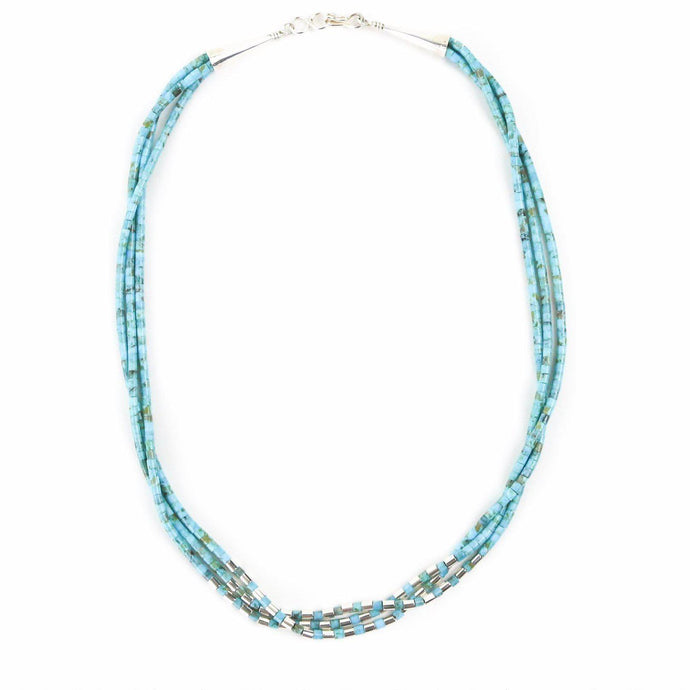 Nick Rosetta Contemporary Turquoise and Sterling Silver Three Strand Heishi Necklace - Shumakolowa Native Arts