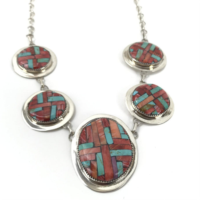 Joe and Angie Reano Turquoise and Spiny Oyster Shell Mosaic Inlay Necklace-Indian Pueblo Store