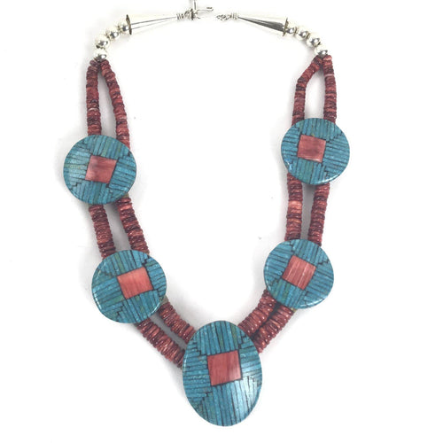 Joe and Angie Reano Turquoise and Red Spiny Oyster Mosaic Inlay Necklace-Indian Pueblo Store