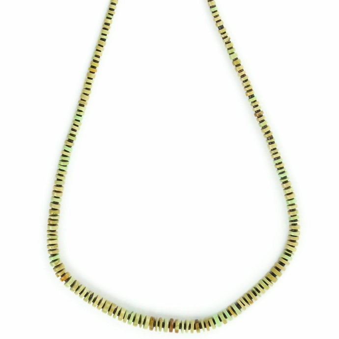 Joe and Marilyn Pacheco Green Turqoise Heishi Necklace - Shumakolowa Native Arts