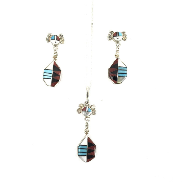Ola Eriacho Sunface Pendant Necklace and Earring Set-Indian Pueblo Store