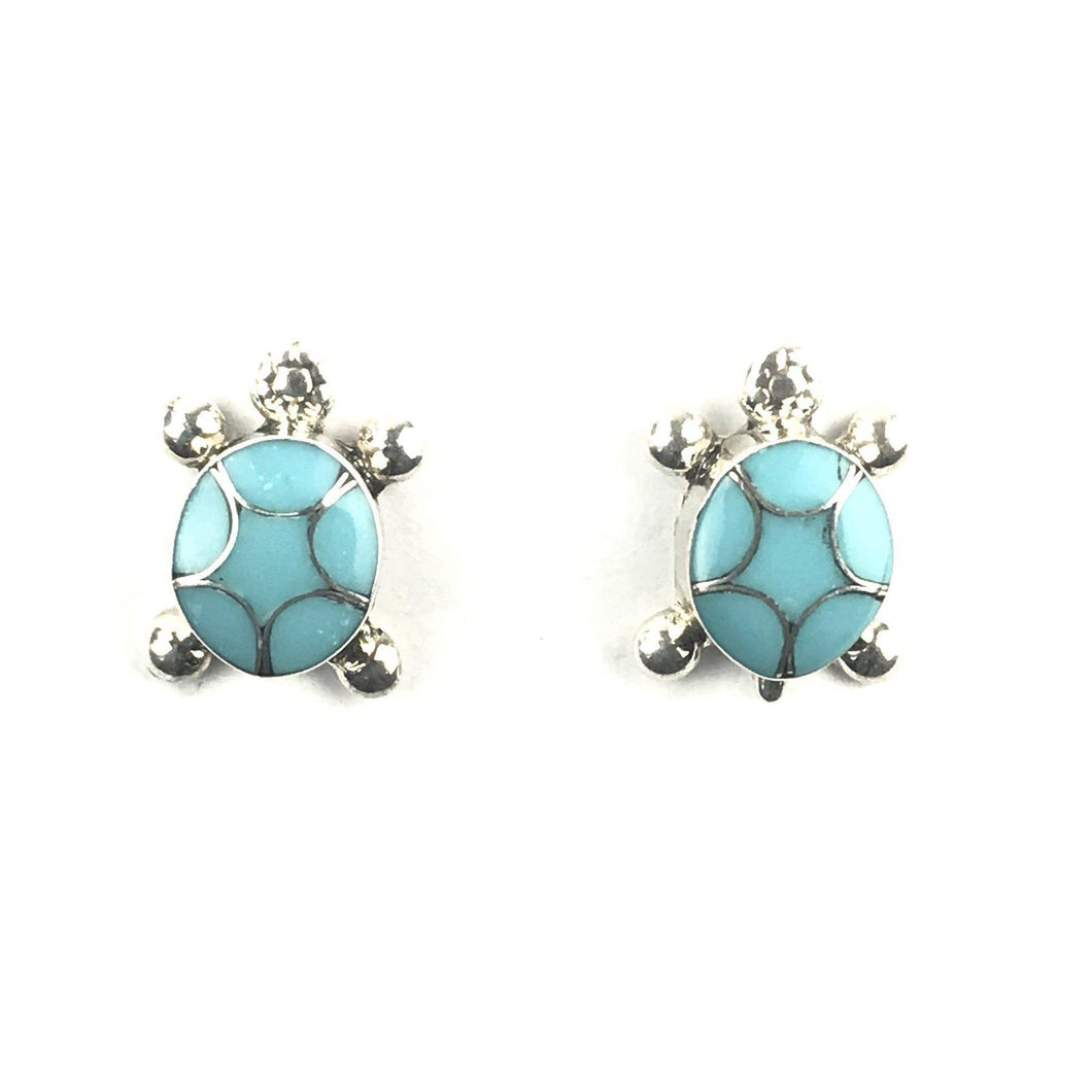 Amelda Peynetsa Turquoise Turtle Earrings-Indian Pueblo Store