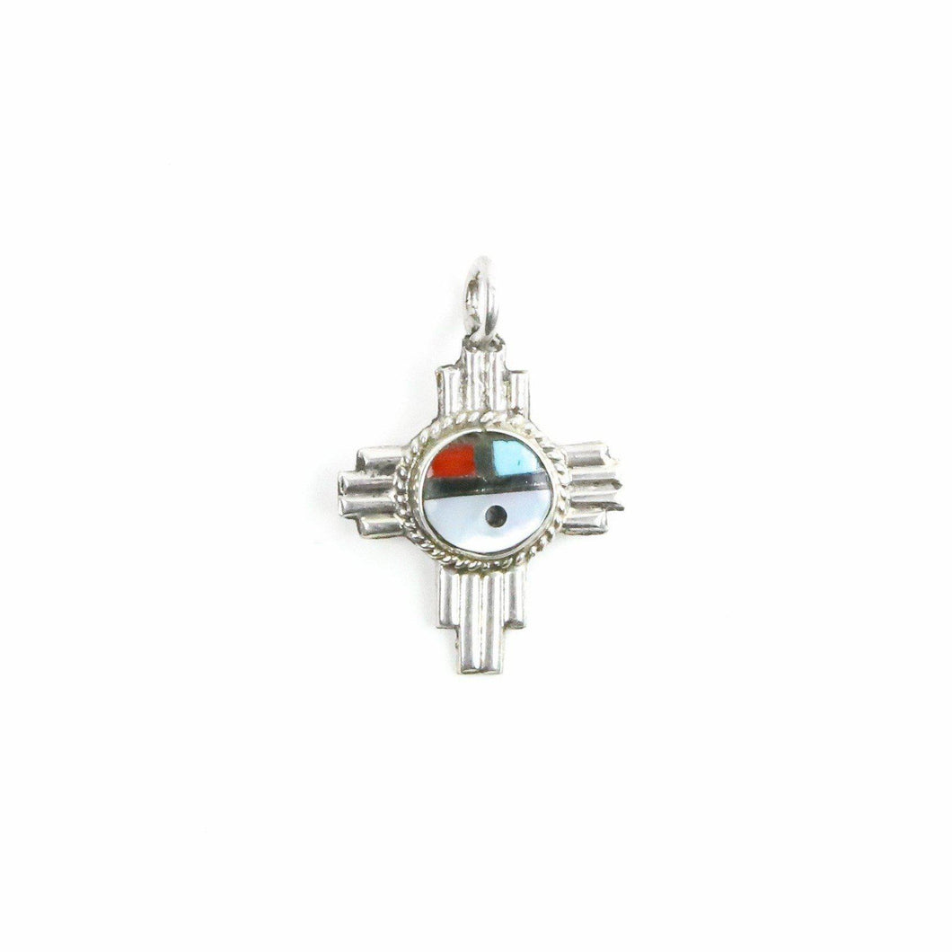 Sterling Silver Multistone Inlay  Zia Pendant - Shumakolowa Native Arts