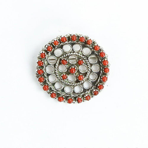 Sterling Silver and Coral Petit Point Pin - Shumakolowa Native Arts