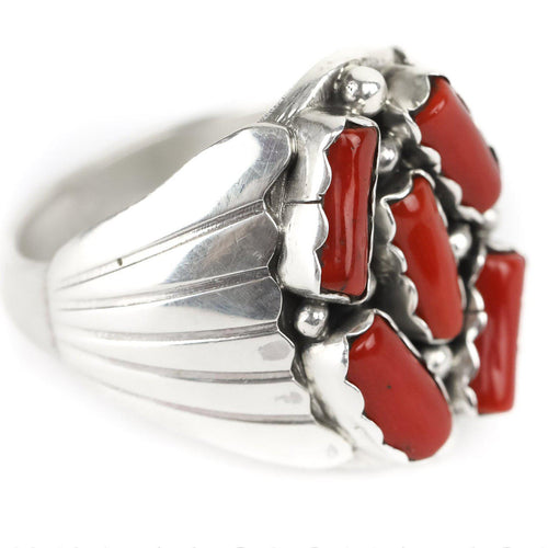 Coral Five Stone Ring - Shumakolowa Native Arts