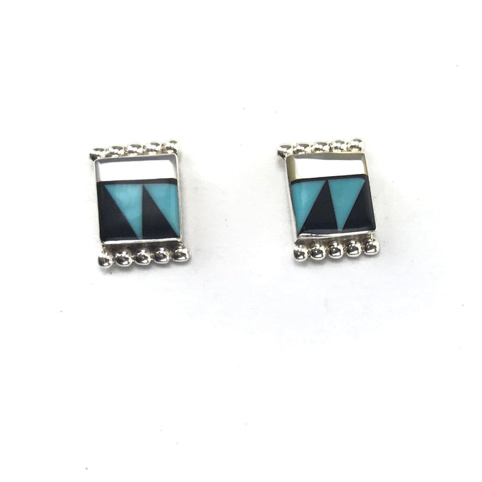 Tyrone Martinez Multi-Gemstone Channel Inlay Earrings-Indian Pueblo Store